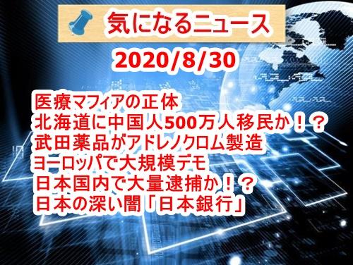 気になるニュース(2020/8/30)医療マフィアの正体・北海道に中国人500万人移民予定・武田薬品がアドレノクロム製造・ヨーロッパで大規模デモ・日本国内で大量逮捕か!?・日本の深い闇「日本銀行」