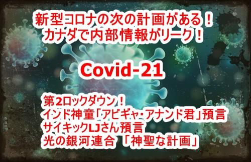 新型ウイルス「Covid-21」による人工パンデミック計画がリークされている!インド神童「アビギャ・アナンド君」預言とタイミングが同じ!サイキックLJさんも言及している!光の銀河連合「神聖な計画」の内である可能性!